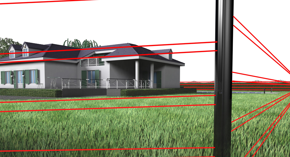 Protection of the perimeter of the estate (boundary wall or fence) with long-range active infrared barriers or microwave barriers.