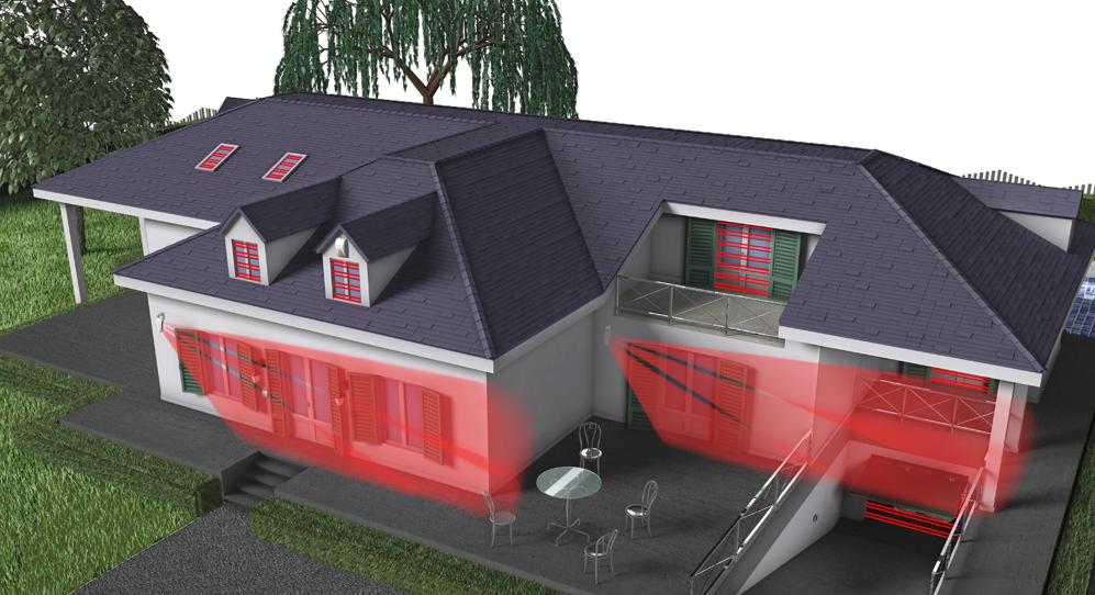 Schutz der Außenseite des Gebäudes (Türen und Fenster) durch Aktiv-Infrarotbarrieren oder Passiv-Infrarotmelder.